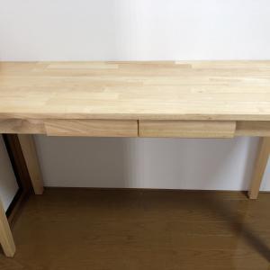 天然木製デスクテーブル120cmを購入しました