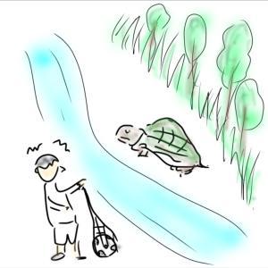 巨亀とキングザリガニの思い出(下手くそ描画シリーズ)