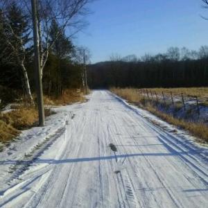 我が家の前の砂利道 積雪圧雪快適道路 青空
