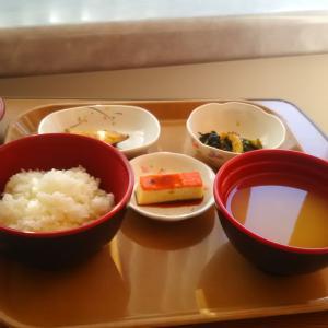 今日の朝飯 ご飯と味噌汁 卵焼 焼き魚 野菜炒め 程よい量 薄味