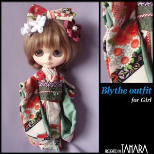 Kimono for Blythe/振袖姿のブライスさんにはつまみ細工の簪