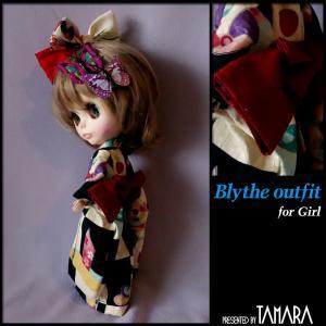 Yukata for Blythe/ブライスさんの黒の浴衣