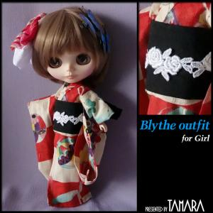 Yukata for Blythe/ブライスさんの赤の浴衣