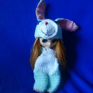 Outfit for Middei Blythe/ミディちゃんのミント色の編みぐるみキグルミ