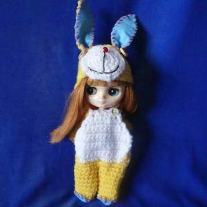 Outfit for Middei Blythe/ミディちゃんの黄色の編みぐるみキグルミ!