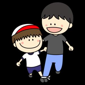 親子二人三脚 フリー素材 男の子 運動会イラスト