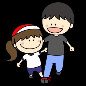 二人三脚する親子のフリー素材 女の子 運動会イラスト