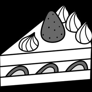 ショートケーキの白黒フリー素材 スイーツイラスト