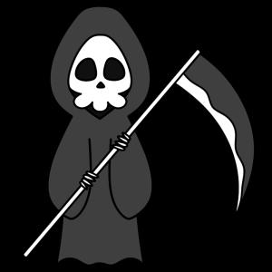 死神の白黒フリー素材 ハロウィンイラスト