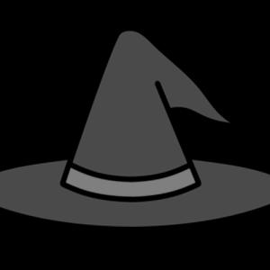 ハロウィン 魔女の帽子 白黒フリー素材