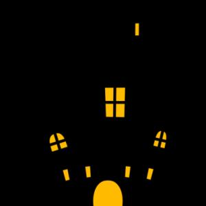 ハロウィン お城のシルエットイラスト フリー素材