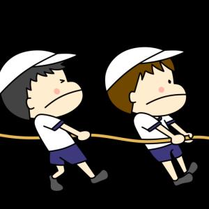 綱引きをする男の子の運動会用イラスト フリー素材