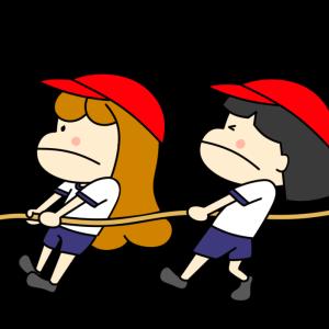 運動会の綱引きのイラストフリー素材 女の子