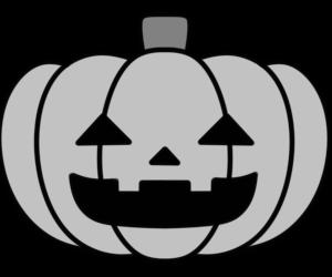 ジャック・オー・ランタンの白黒フリー素材