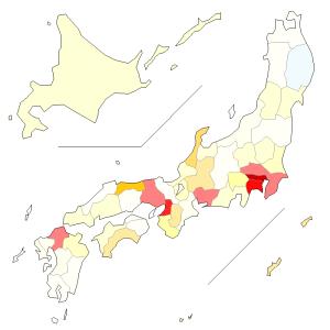 """新型コロナウィルスの都道府県別感染状況は、それぞれの面積を考慮しなきゃだめなのではと考えて、""""可居住地面積""""あたりの感染者数を色分け地図にしてみた件"""