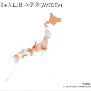4月17日現在、各都道府県の人口100万人と可居住面積1㎢あたりの感染者数、そしてその平均偏差を地図に塗り分けてみた件
