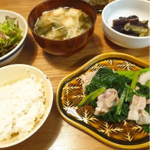 春菜と豚バラ肉の塩炒め