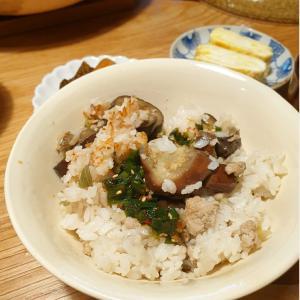 土鍋で夏の味、なすご飯
