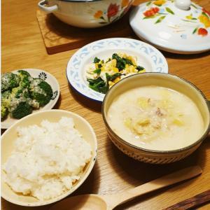 鮭缶と白菜の味噌ミルクスープ