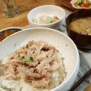 パパッとネギ塩豚丼で晩ご飯
