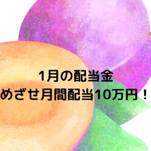 1月の配当金  目指せ月間配当10万円!