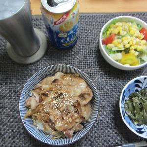 豚丼と青椒肉絲丼