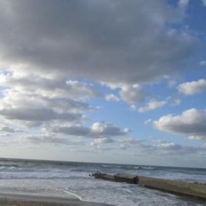 夕方の海、