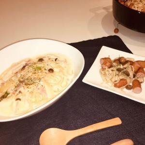 格安!簡単スープパスタとごろごろソーセージとキノコのガーリック炒め!