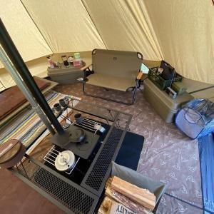 薪ストーブを始めてテント内にインストール!安居緑地広場(富山県)【前編】