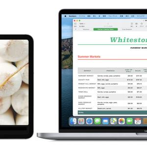 広く画面が使える。MacBook Pro 16インチとiPad Pro 12.9インチでSidecar。