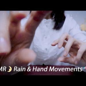 [ASMR] 耳元で鳴る雨の音、眠気を誘う手の動き / 睡眠、集中、作業用 / ハンドムーブメント [声なし-No Talking]