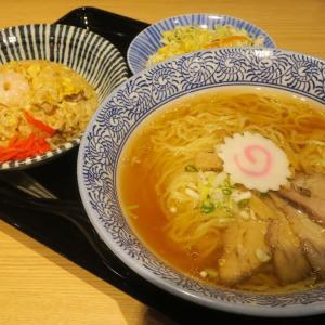 竜胆 新潟日報メディアシップで食べられる中華そば半炒飯セット