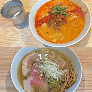 「担々麺」と「海老ワンタン塩らぁ麺」:中村麺三郎商店