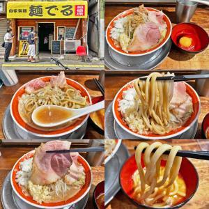 麺でる相模原店の「プチラーメン」+「時価豚(伊豆太湖豚)」+「生卵」