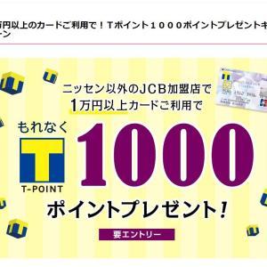 【ニッセンカード】1万円以上の利用で、【Tポイント】が1000貰える。