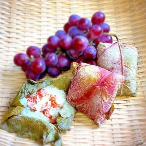鮭のおにぎり100品連打vol.43 葡萄の葉包みチャレンジ紅鮭おにぎり