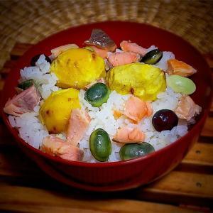 鮭おにぎりvol.139  秋のカラフル鮭ご飯