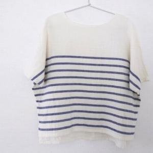 【パターンレーベル布帛Tシャツ】パネルボーダーWガーゼで作りました