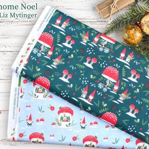 ノームとキノコ Paintbrush Studio Fabrics のクリスマス生地