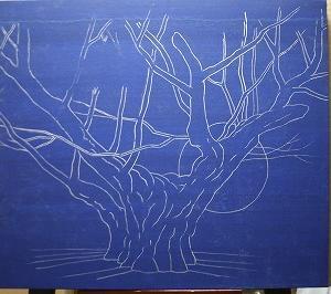 日本画制作  「朱鷺飛翔  薄墨桜」