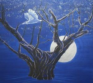 日本画制作 「朱鷺飛翔 薄墨桜」 岩絵の具の彩色