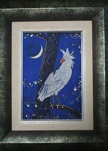 日本画小品販売 「朱鷺 兆し」 SМ
