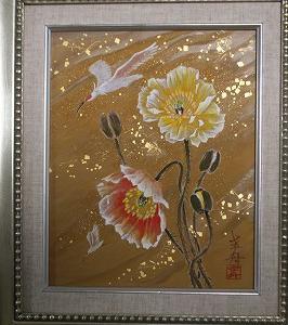 日本画小品販売 「朱鷺飛翔 ポピー」3F