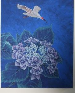 「 額紫陽花に朱鷺飛翔 」 3P