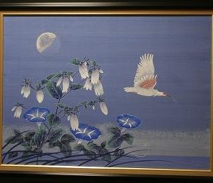 「朱鷺飛翔 夏朝月」途中ですが額に!!