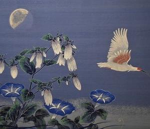 「朱鷺飛翔 夏朝月」 部分です!!