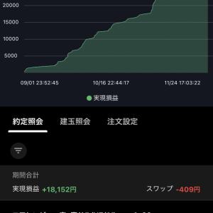 不労所得【トライオートFX】現況報告 2020-11-30 11月収支+18152円