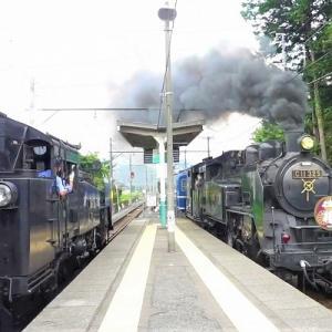 蒸気機関車同士が列車交換 【 SL大樹 大桑駅 】