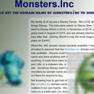 モンスターズ・インクのドメイン「Monsters.Inc」はディズニー管理?有志におけるポルノ・マルウェア対策が実施