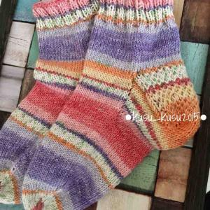【完成】2/100 つま先から編む靴下。